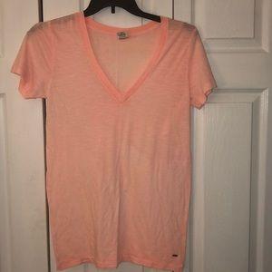 Victoria's Secret PINK Basic V Neck T-Shirt sz L
